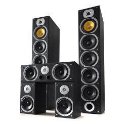V9B Surround Lautsprecher Set schwarz, 5 Stück 1240W Schwarz