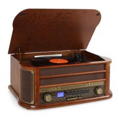 Belle Epoque 1908 Retro-Microanlage USB CD MP3 Vinyl Holzgehäuse Braun | CD-Player