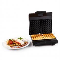 Waffle Buddy Waffeleisen 700 W 2 Heizflächen Edelstahl rot Rot
