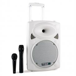 Port10VHF-BT WH mobile PA-Box Akku Trolley USB-SD-MP3 500W weiß