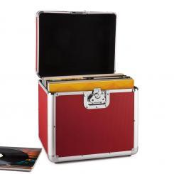 Zeitkapsel Aluminium-Plattenkoffer Vinyl-Case 70 Stück LP rot Rot