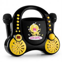 Rockpocket Kinder-Karaokesystem CD AUX 2x Mikrofon Sticker Set schwarz Schwarz