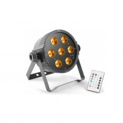 FlatPAR 7x 15W 5-in-1 Color RGBAW-LED DMX IR inkl. Fernbedienung