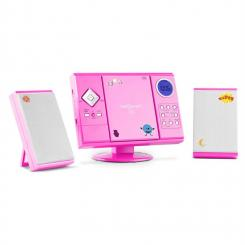 V-12 Stereoanlage MP3-CD-Player USB SD AUX Pink Sticker Pink