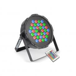 FlatPAR 36 x 1W PAR-Strahler RGB LED DMX IR inkl. Fernbedienung