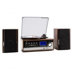 Deerwood Stereoanlage Plattenspieler USB MP3 Encoding CD Kassette UKW AUX Braun