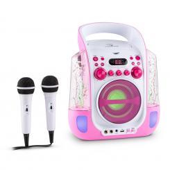 Kara Liquida Karaokeanlage CD USB MP3 Wasserstrahl LED 2x Mikrofon mobil Pink