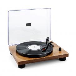 TT Classic WD Retro-Plattenspieler USB Line-Out Lautsprecher Holz-Furnier Braun