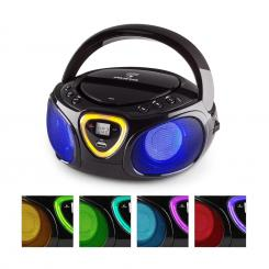 Roadie Boombox CD USB MP3 MW/UKW-Radio Bluetooth 2.1 LED-Farbspiel schwarz Schwarz