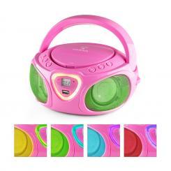 Roadie Boombox CD USB MP3 MW/UKW-Radio Bluetooth 2.1 LED-Farbspiel pink Pink