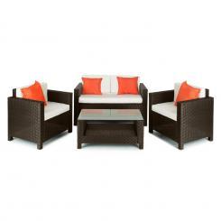 Verona Gartengarnitur 4-teilig Polyrattan Braun/Beige/Orange