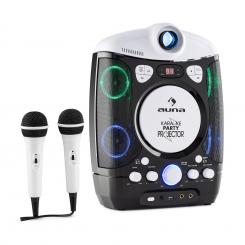 Kara Projectura Karaokemaschine mit Projektor LED-Lichtshow schwarz-grau Schwarz