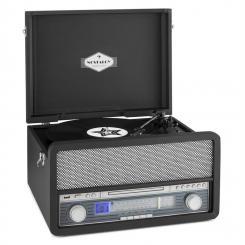 Belle Epoque 1907 Retro-Audiosystem Plattenspieler Kassette Bluetooth USB Schwarz