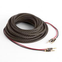 Lautsprecherkabel OFC Vollkupfer 2 x 3,5mm² 5m Textilmantel konfektioniert