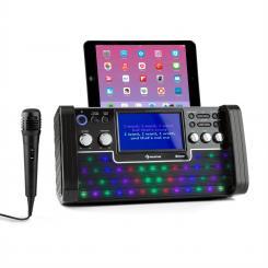 "DiscoFever LED Bluetooth-Karaokeanlage LED 7"" TFT-Screen CD USB schwarz Schwarz"