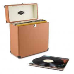 TTS6 Vinylbox Plattenkoffer Leder Nostalgie 30 LPs braun Braun