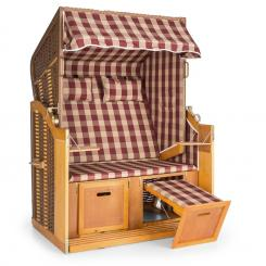 Hiddensee Strandkorb XL 2-Sitzer Volllieger rot / weiß kariert