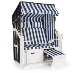 Hiddensee Strandkorb XL 2-Sitzer Volllieger blau / weiß gestreift