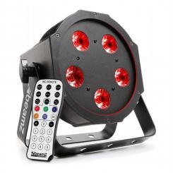 BFP120 FlatPAR 4-in-1 LED-Strahler 5x 8W RGBW-LEDs DMX IR-Fernbedienung