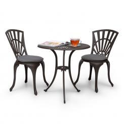Valletta 3-tlg. Bistro-Set Tisch 2 Stühle Druckguss-Alu Sitzpolster Braun