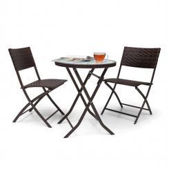 Before Sunrise 3 tlg. LED Rattan Bistro Set Tisch 2 Stühle braun