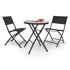 Before Sunrise 3 tlg. Textilen Bistro Set Tisch 2 Stühle schwarz