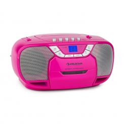 BeeGirl Boom Box Ghettoblaster Radio CD/MP3-Player Kassettenplayer pink Schwarz