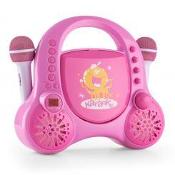 Rockpocket-A PK Kinder-Karaokesystem CD AUX 2x Mikrofon Akku pink