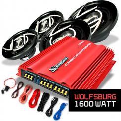 "Car Hifi Set ""Wolfsburg"" 4.0 System 1600W Lautsprecher & Amp"