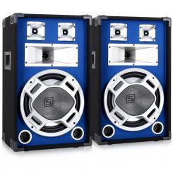 SKY-178 Paar PA-Lautsprecher PA-Box 30cm (12'')-Subwoofer blau LED-Lichteffekt 600W