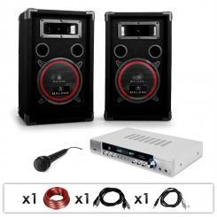 """DJ PA Set """"DJ-11"""" Verstärker, Lautsprecher, Mikro 1000W"""