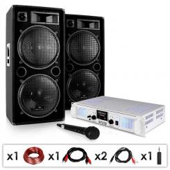 """DJ PA Anlage """"DJ-21"""" DJ Verstärker PA Boxen Kabel 2000W"""