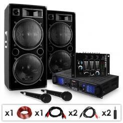 """DJ SET """"DJ-20.1"""" PA-Verstärker PA-Box Mixer Mikro Kabel 2000W"""