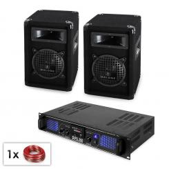 "PA Set ""Malone SPL MP3"" - Paar 16,5cm Subwoofer Lautsprecher & Verstärker 300W"
