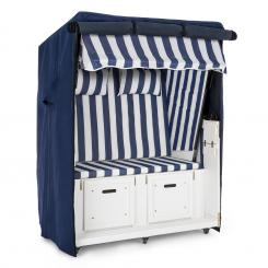 Hiddensee Strandkorb Set Blau 2-Sitzer 118cm Schutzhaube Bodenrollen