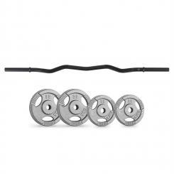 Gewichtsscheiben-Curlbar-Set 15 kg Curlbar 4 Gewichte schwarz
