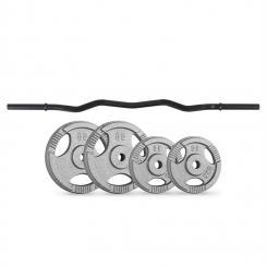 Gewichtsscheiben-Curlbar-Set 30 kg 4 Gewichte Curlbar schwarz