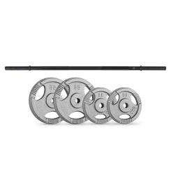 Gewichtsscheiben-Straight-Bar-Set 30 kg 4 Gewichte Straight-Bar