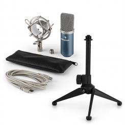 MIC-900BL USB Mikrofonset V1 | blaues Kondensator-Mikrofon | Tischstativ