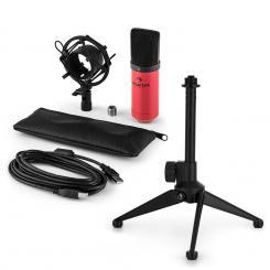 MIC-900RD USB Mikrofonset V1 | rotes Kondensator-Mikrofon | Tischstativ