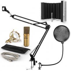 MIC-900G USB Mikrofonset V5 Kondensator Pop-Schutz Schirm Arm gold