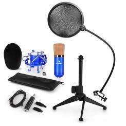 CM001BG Mikrofon-Set V2 Kondensatormikrofon USB-Adapter Mikrofonstativ blau