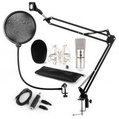 CM001S Mikrofon-Set V4 Kondensator USB-Adapter Mikroarm POP-Schutz silber