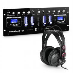 DJ405USB-BK 4-Kanal-DJ-Mischpult inkl. Studiokopfhörer