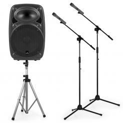 "Streetstar 12 Mobile PA-Anlage-Set 12"" PA-Speakerstand 2x Mikrofonständer"