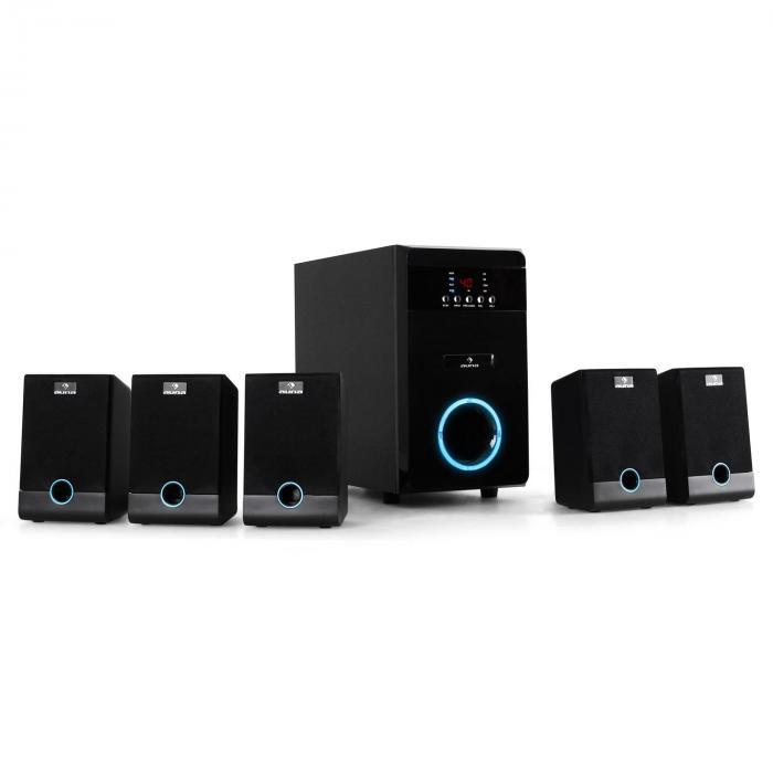 MM-5.1-JW aktives 5.1 Surround Lautsprecher Set 95W RMS Fernbedienung schwarz