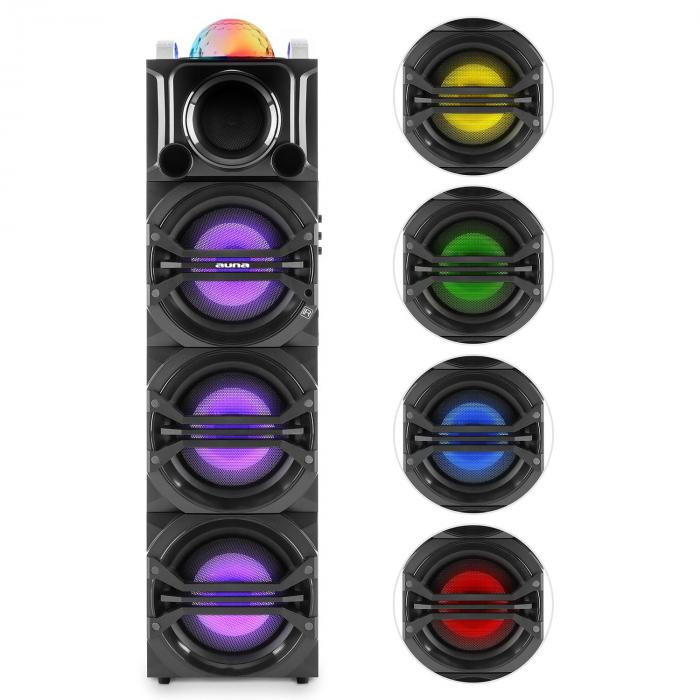 DisGo Box 365 Party-Lautsprecher Akku Bluetooth USB MP3 UKWLED-Lichteffekt