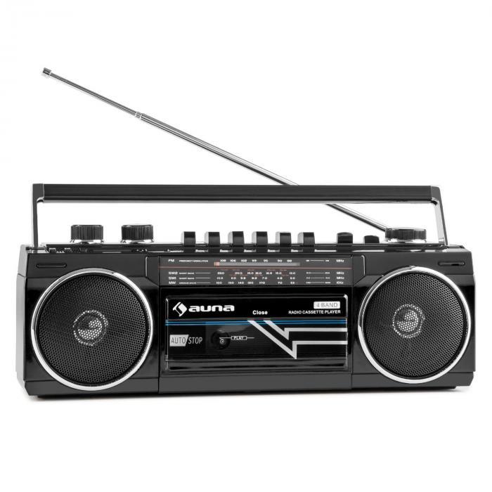 Duke Retro-Boombox tragbarer Kasettenplayer USB SD Bluetooth FM-Radio