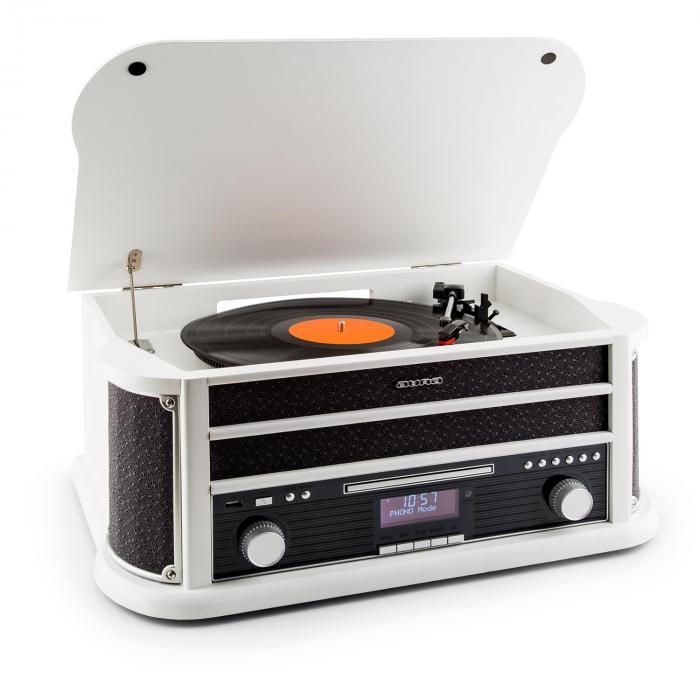 Belle Epoque 1908 DAB Retro-Stereoanlage Plattenspieler DAB+ Bluetooth weiß