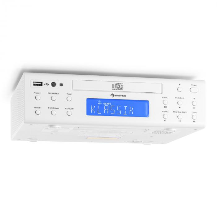 KRCD-150 Küchen-Unterbauradio CD USB AUX UKW RDS Alarm Fernbedienung weiß